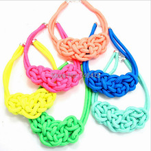Free shipping bright new fashion cheap handmade knit thick rope necklace(China (Mainland))