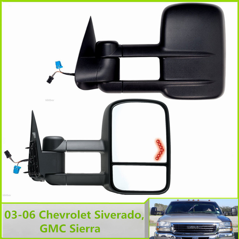 New Pair Set Tow Towing Side Mirror With heater Power Arrow Left & Right FOR 03-06 Chevrolet Siverado, GMC Sierra Pickup Truck(China (Mainland))