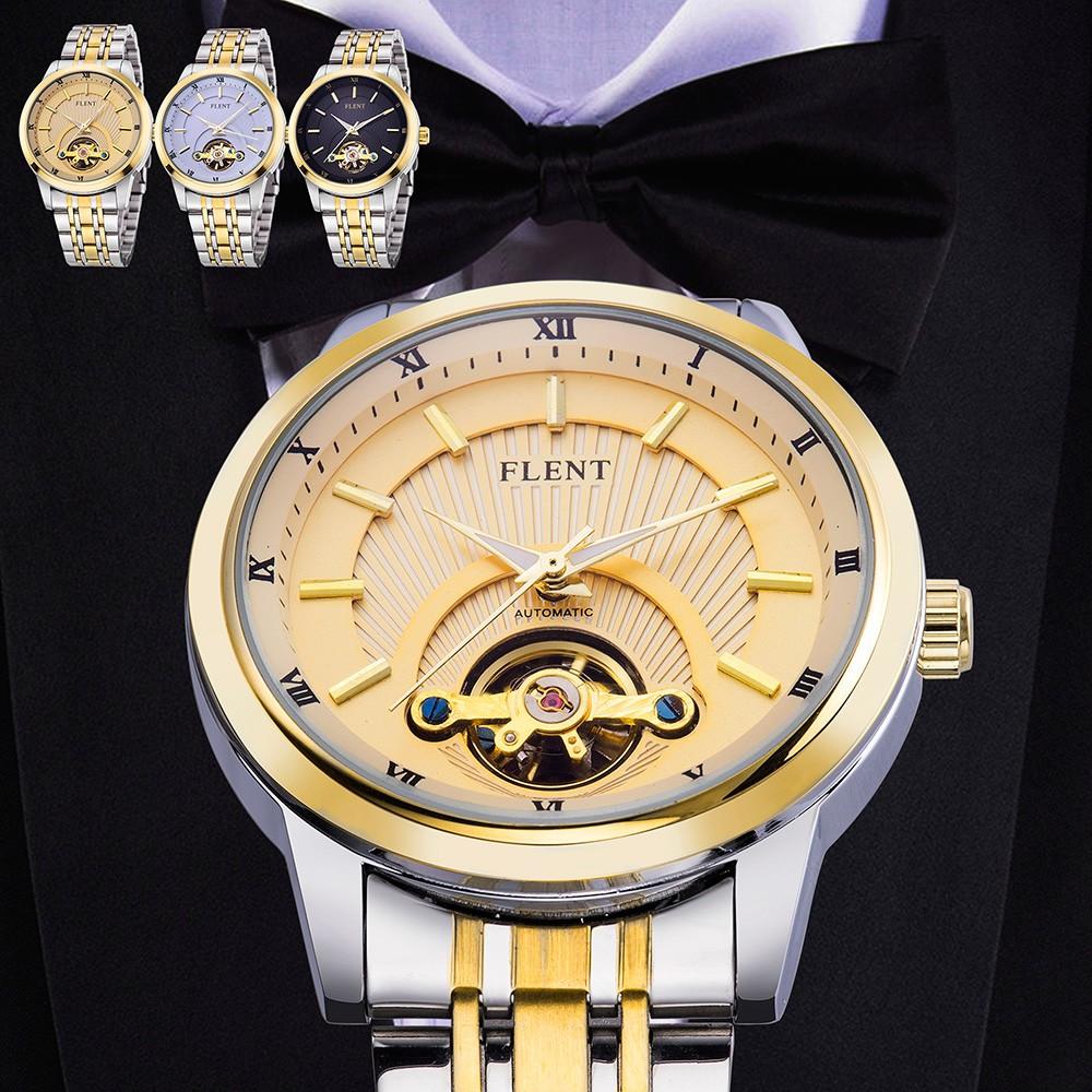 Парни Top Luxury Brand Автоматическая self-ветер Наручные Механические Простой Золото Полный Сталь Ремешок Спорт Busniess Мода Повседневная Часы