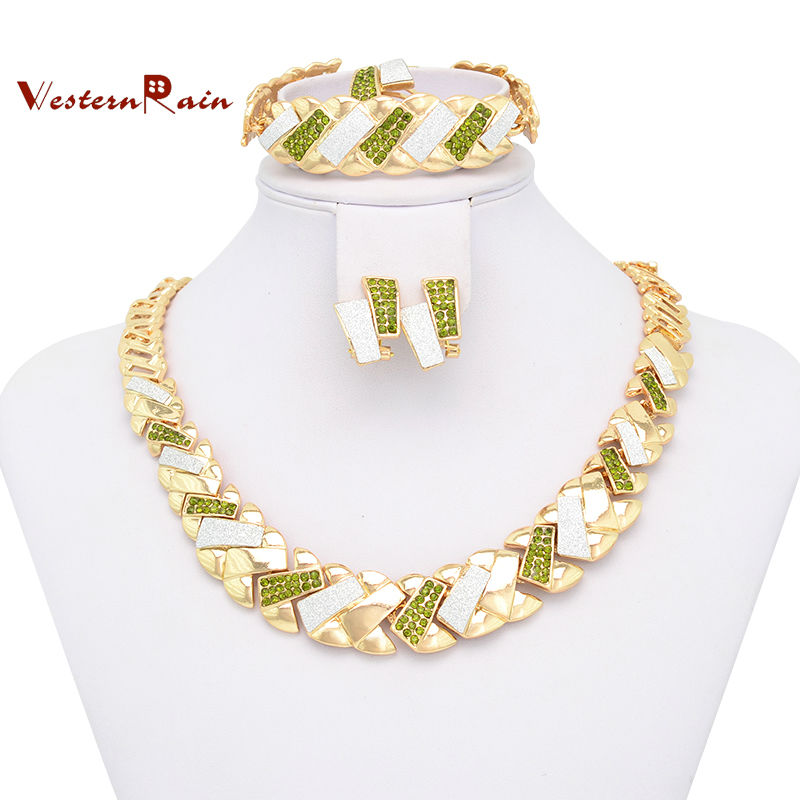 WesternRain 2015 Hot Sale Costume Jewelry Set/Gold Plated Fashion Jewelry With Necklace,Bangle,Earring&Ring African Jewelry Set(China (Mainland))