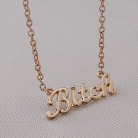N182  Free Shipping,Fashion Punk Bitch Letter Alloy Pendant Necklaces,Jewelry Wholesale(China (Mainland))