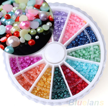 12 Colors 500pcs DIY Nail Art Half Round Pearls Rhinestone Decoration Wheel 2mm 02KM
