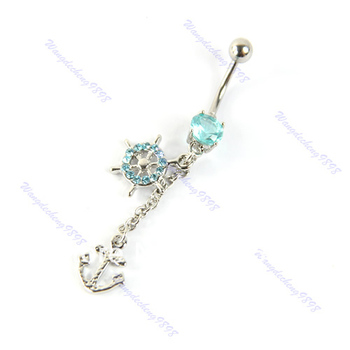 D19+6PCS Dangle Crystal Navel Bar Belly Button Ring Barbell Rings Rhinestone Body Piercing Jewelry HOT
