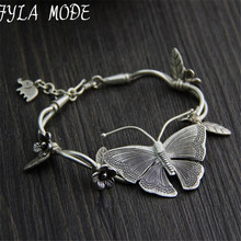Buy Fyla Mode Hot S925 Thai Silver Cute Butterfly Antique Silver Beautiful Womens Bracelet Jewelry Fashion Gift 5 Styles Random for $27.29 in AliExpress store