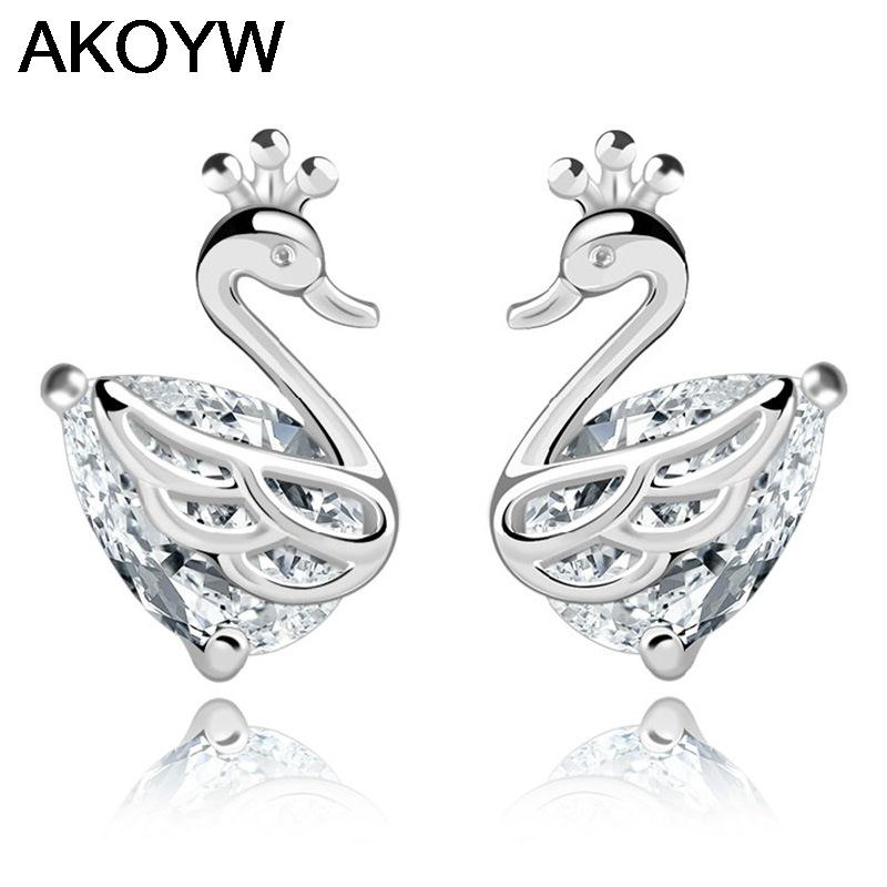 Silver plated swan temperament crown earrings female models fashion crystal jewelry cute vintage jewelry factory wholesale(China (Mainland))