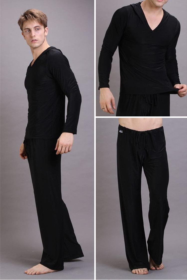 Mens Sexy Silk Hooded Yoga Costumes Male Fitness Suit Pajama Sets Pullover Sleepwear Homewear Hot Pyajama S M L