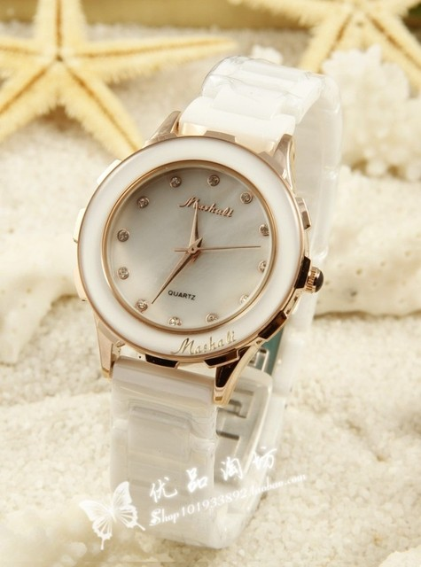 White ceramic watch women's fashion watch with diamond ladies watch