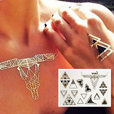 Hot Sale Taty Temporary Tattoo Stickers Temporary Body Art Waterproof Cow-Head Triangle Flash Tattoo Gold Pattern Sex Products(China (Mainland))