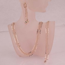Hot Sell Pretty Women New Trendy Jewelry Sets 14k Rose Gold Plated Chic Centipede Shape Pendant Necklace Bracelet Earrings D484(China (Mainland))