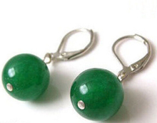 ry00651 10MM Natural Green Jade Round Beads Silver Leverback Earrings 5.5(China (Mainland))