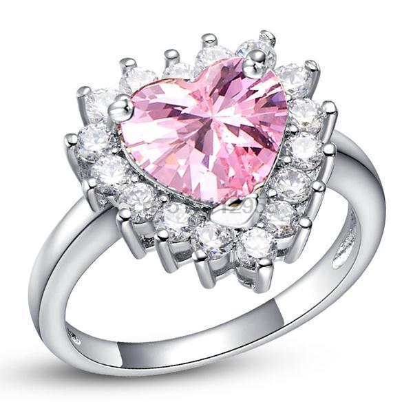 Hotting Sale Romantic Heart Wedding Rings Elegant Austrian Gem Pink Zircon High Taste Finger Ring 18 K White Gold Jewelry J461(China (Mainland))