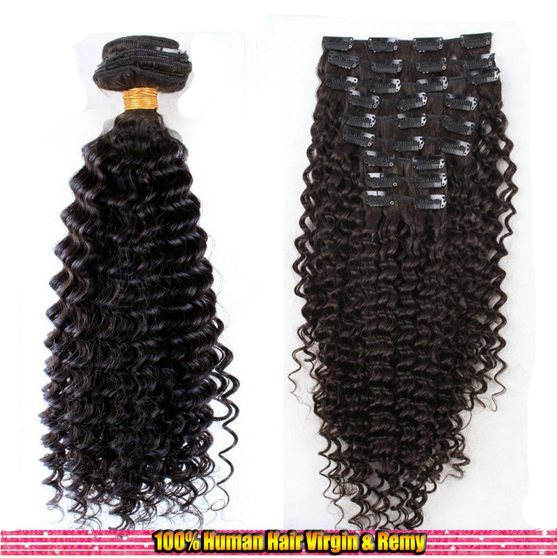 2016 new Darkest Brown peruvian Kinky Curly hair clip in human hai extensions 6a virgin peruvian kinky Curly Weave Bundles