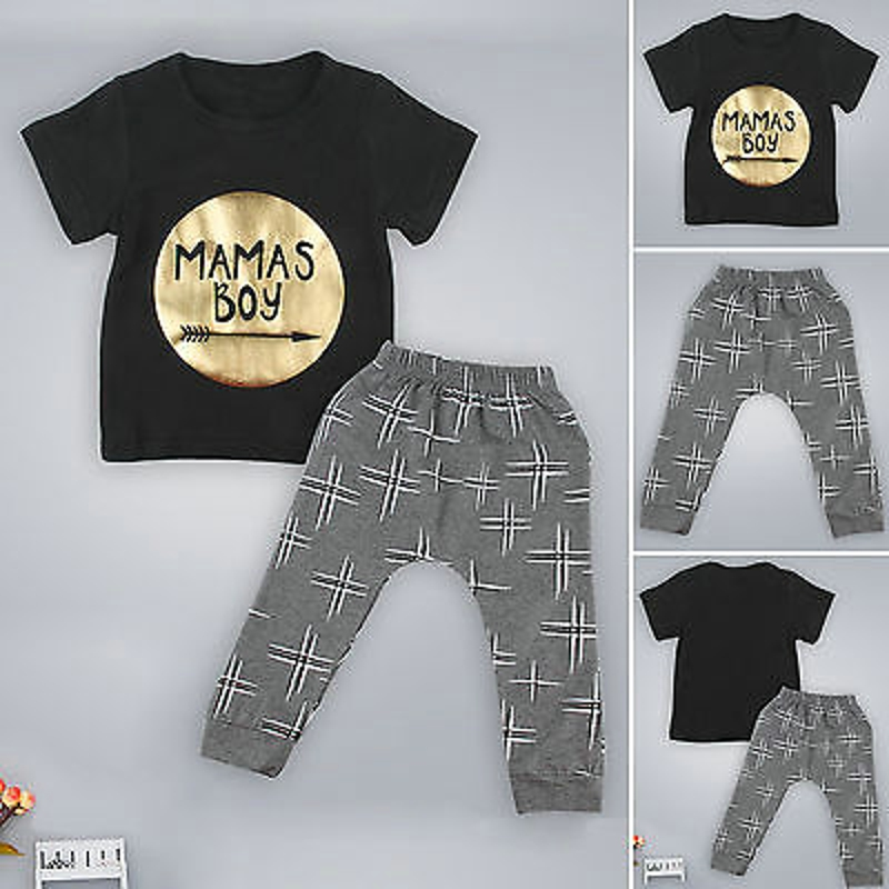 2pcs new gold letter Mamas boy printed t-shirt+pants Cotton Blend baby suit baby boy clothing sets for baby kids clothes set(China (Mainland))