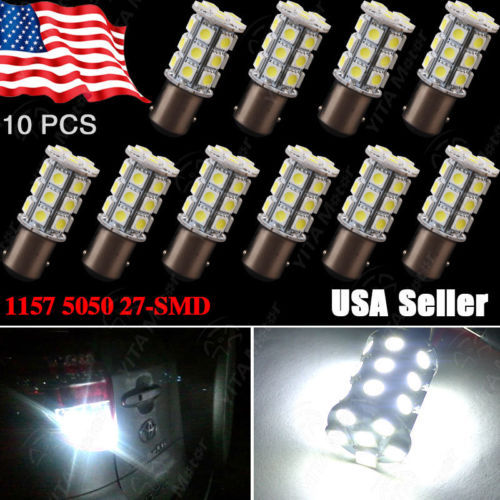 Wholesale 10pcs/lot Xenon White 1157 BAY15D 5050 27-SMD LED Lights Bulbs Tail Brake Turn Backup Light 1157A Interior led Lamp(China (Mainland))