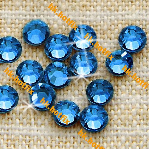 GENUINE Swarovski Elements ss6 Sapphire ( 206 ) 144 pcs. Iron on 6ss Hot-fix new Flatback Glass Crystal 2038 Hotfix Rhinestones(Hong Kong)
