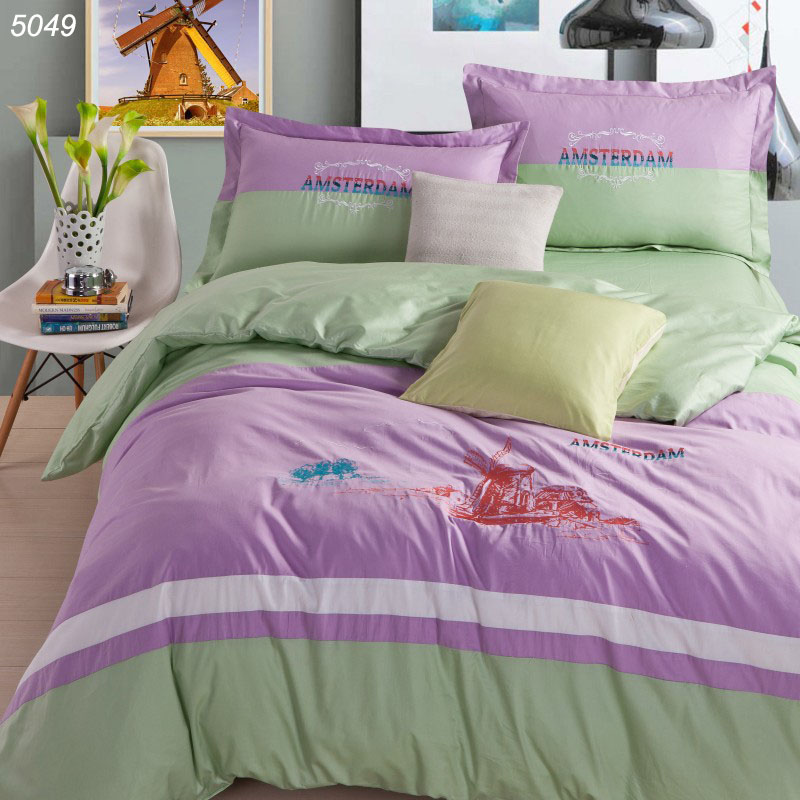 Netherlands Windmills bedding sets 100% cotton embroidery pink green bed cover sheet pillowcases Amsterdam bed set hot 5049(China (Mainland))