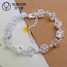 Buy Silver plated bracelet women men Lovers Unisex silver Jewelry hand chain ornaments High for $1.62 in AliExpress store