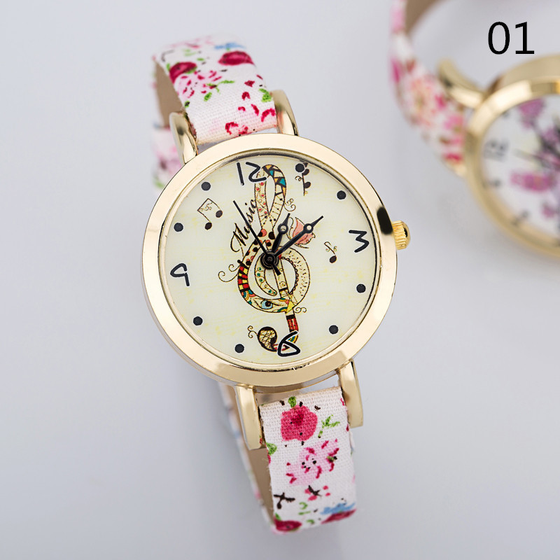 Personalized Fashion Style FeiFan PU Leather Women Watch New Arrival Butterfly Note Pattern Multicolor Casual Quartz