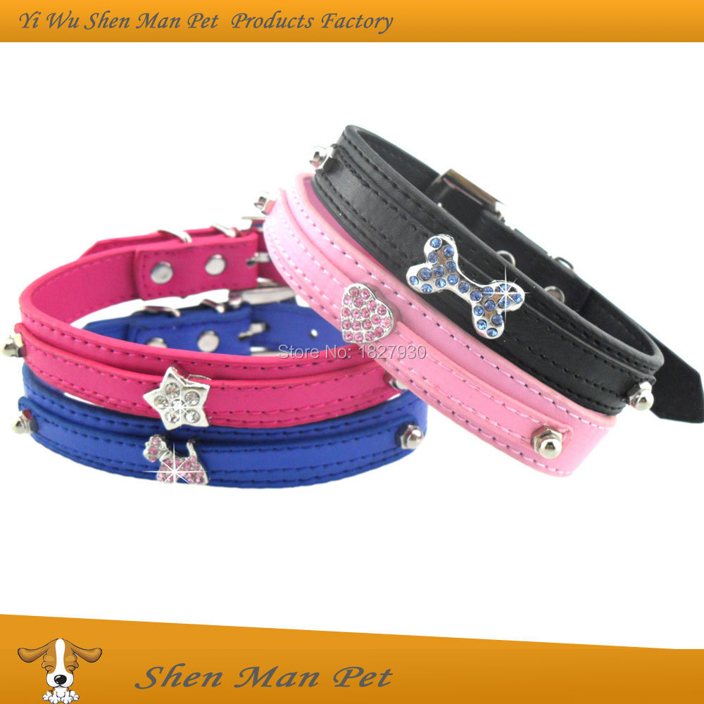 Wholesales M Black Blue Pink Rose Fashion Charming Bling Rhinestone PU Leather Dog Collars Accessories for Pet Dogs(China (Mainland))