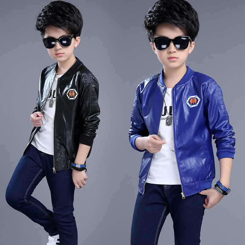 2017 New Spring Coat Boy Children 3-13 Years Old Children In Thin Leather Casual Pu Jacket Dress Tide(China (Mainland))