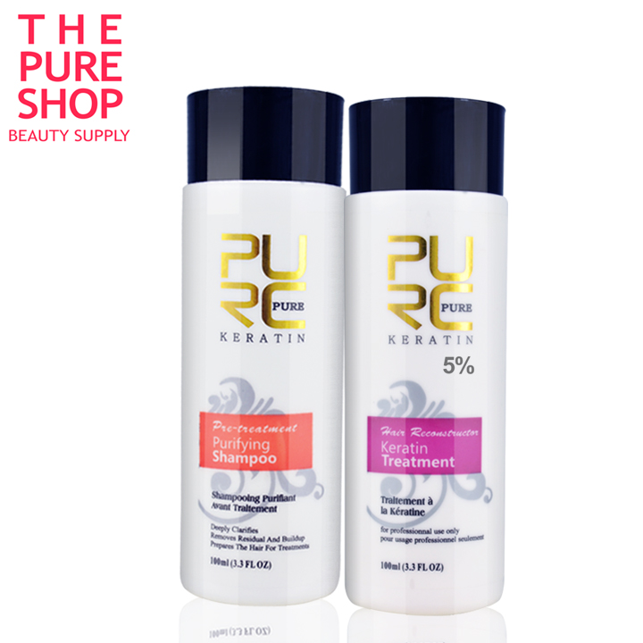 PURE Brazilian keratin hair straightening 100ml x 2 hair care products for Repair damaged hair and straighten hair care keratin<br><br>Aliexpress