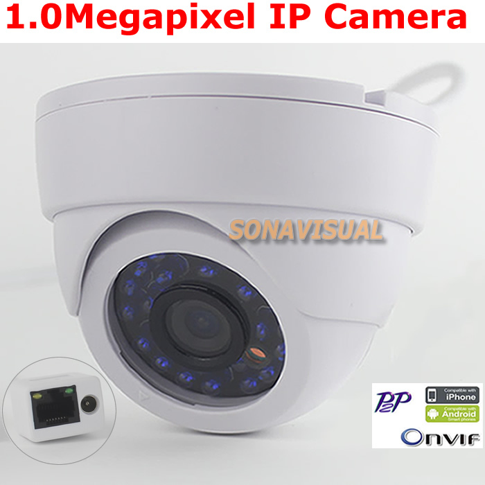 Hot 1.0MP IP Camera 720P Wired With 24 led light Night Vision Support Onvif P2P H.264 HD 1280x720 IR Dome Security Camera System(China (Mainland))
