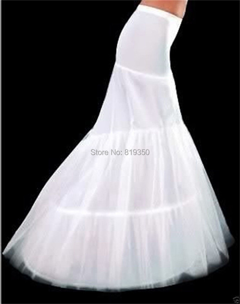 White Mermaid Petticoat 2015 New Wedding Gown Crinoline Petticoat High Quality Cheap 2 Hoops
