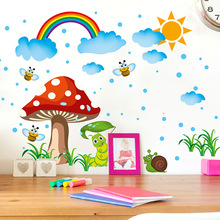 Buy Cartoon Wall Stickers Home Decor DIY Mushroom Bees Rainbow Wall Decals Art Wall Poster Baby Kids Room Decoration for $3.98 in AliExpress store