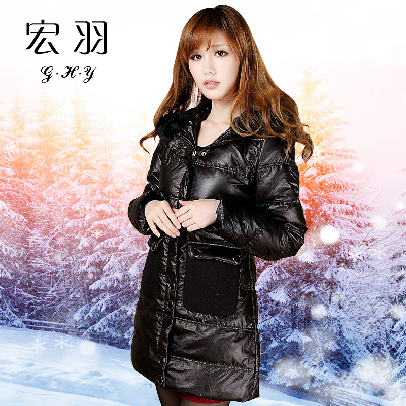 female winter medium-long coat duck slim large fur collar hooded outerwear warm - Diosa store