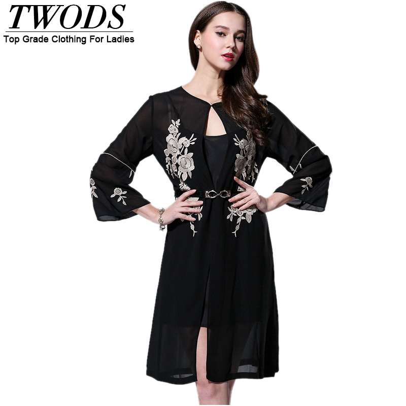 Twods 2015 New silk women summer trench coat for women black casual embroidery ladies long coatsОдежда и ак�е��уары<br><br><br>Aliexpress