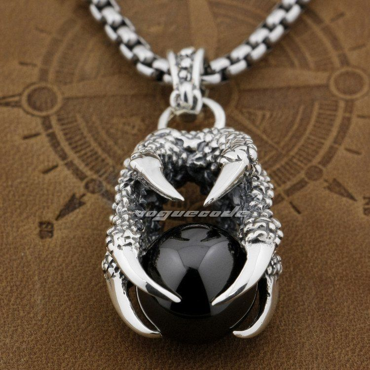 Dragon Claw &amp; Dragon Ball 925 Sterling Silver Mens Pendant 8C002(Necklace 24inch)<br><br>Aliexpress