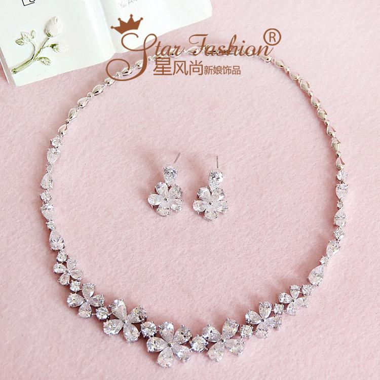 Zirconium bride zircon rhinestone necklace chain sets marriage accessories wedding set dress style accessories
