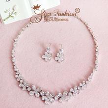 Zirconium bride zircon rhinestone necklace chain sets marriage accessories wedding set dress style accessories(China (Mainland))