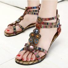 New Roman Summer Flat Sandals Plus Size 34-41 Beaded Gemstone Women Bohemian Shoes Sapatos Femininos