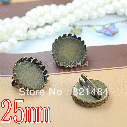 Antique bronze 200pcs Pincess crown 25mm Bezel Setting Brooches Safety pins, Brooch base,Brooch blank WHOLESALE<br><br>Aliexpress