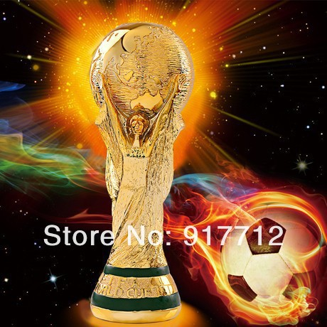 1:1.3 27cm World Cup Football trophy Resin Replica Trophies Model Brazil World Cup Best Soccer Fan Souvenir Gift Free Shipping(China (Mainland))