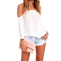 New European 2016 Summer T-Shirt Solid Half Sleeve Off The Shoulder Lace Up V-Neck Casual White Black Bandage Tops