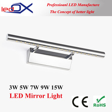 2015 NEW Morden 3W 5W 7W 9W 15W LED Mirror light Stainless Wall lamp For Bathroom shower room dressroom lights lighting Freeship(China (Mainland))