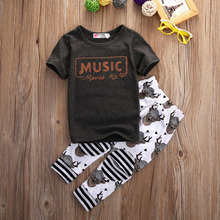 Baby Boys Girls T Shirt Tops Long Pants Trousers Rompers Kids Outfit Set Clothes(China (Mainland))