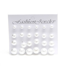 Sunshine fashion White Pearl piercing Stud Earrings 6mm/8mm/10mm/12mm Mix Size 1 card 12 pairs earrings women Lady Jewelry(China (Mainland))