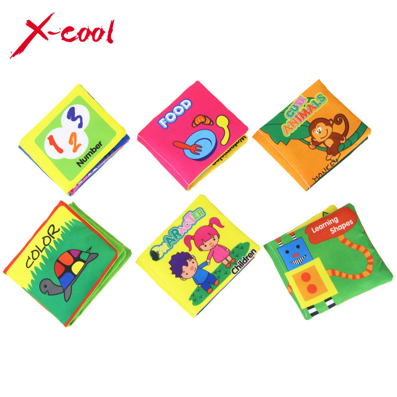 6PCS/Set 11x10 cm Baby Toys Soft Cloth Books Infant Educational Stroller Rattle Toy Newborn Crib Bed Baby Toys 0-12 month(China (Mainland))