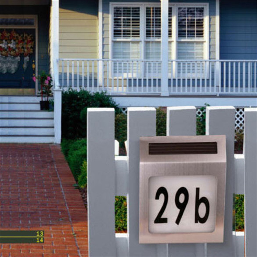 led solar light outdoor stainless solar powered 3led illumination doorplate lamp house number. Black Bedroom Furniture Sets. Home Design Ideas