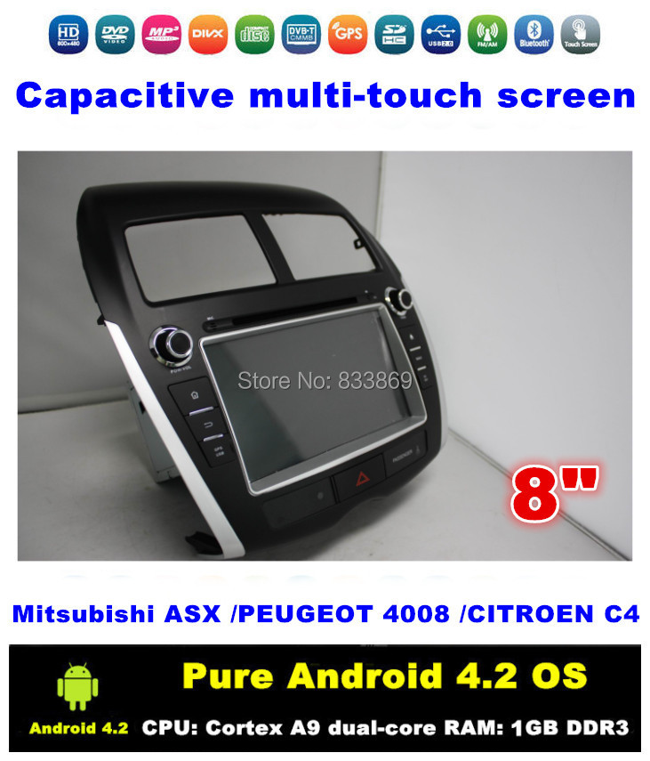"""Pure Android 4.2 HD 2 din 8 """"Car DVD Stereo for Mitsubishi ASX PEUGEOT 4008 CITROEN C4 With 3G/WIFI BT IPOD GPS Radio/RDS AUX IN(China (Mainland))"""