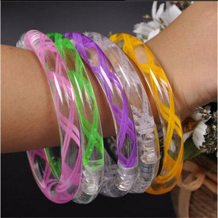 100pcs/lot Light Up Toys Acrylic Led Bracelets flashing Wristbands Luminous Rave Kids gift Party Accessory decoration supplies(China (Mainland))
