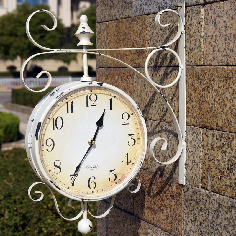 Double Sided Wall Clock Large watch Vintage Saat Relogio de Parede Digital wrought iron wall clocks Do the old iron Reloj Pared(China (Mainland))