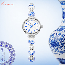 KIMIO Retro Really Chinese Ceramic Watch Blue And White Porcelain China Auspicious Pattern Bracelets Women Watches Luxury Brand(China (Mainland))
