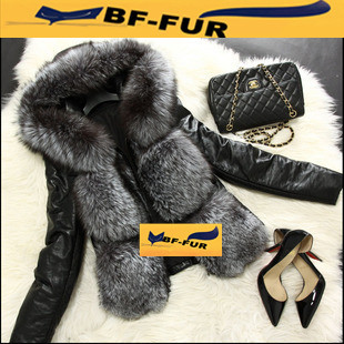 New Genuine Fox Fur Coat With Hood With Real Leather Fur Coats Women Short Jackets Fashion Winter Spring Outwear BF-C0023(China (Mainland))
