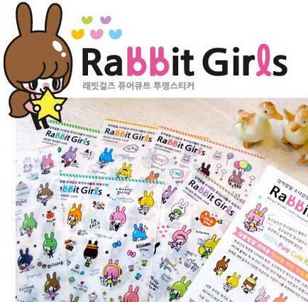 Korea Rabbit Girls series PVC sticker Set/DIY Multifunction decoration sticker/phone sticker/WHOLESALE<br><br>Aliexpress