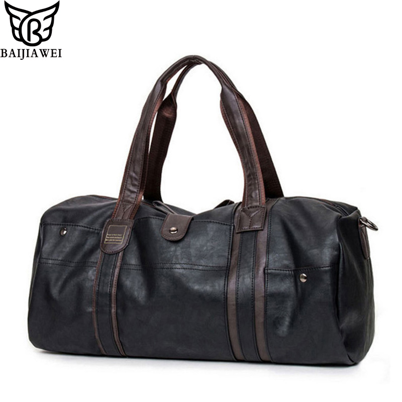 BAIJIAWEI New Arrival Oil Wax Leather Handbags For Men Large-Capacity Portable Shoulder Bags Men's Travel Bags Fitness Package(China (Mainland))
