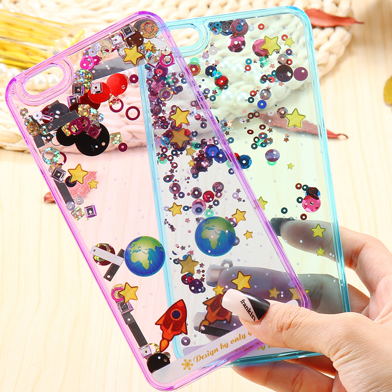 6S/6+ Fundas Glitter Colorful Beads Clear Hard Back Case For Apple Iphone 6 6S Plus Cellphone Liquid Bling Cover For IPhone 6S(China (Mainland))